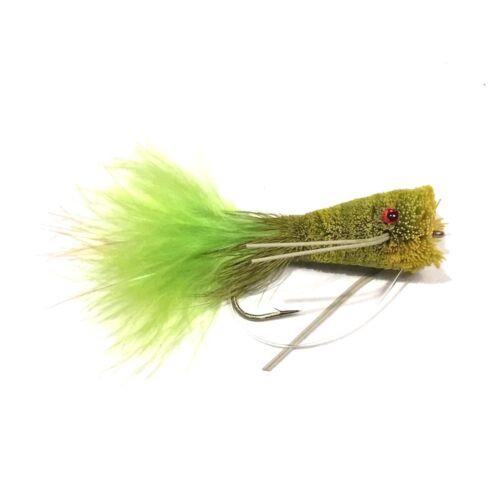 Natives Cod 4 x Deer Hair Flashtail Popper Bass Bug Fly Fishing Flies For Bass