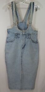 GITANO-Bib-Overalls-Skirt-Vintage-90s-Romper-jean-denim-light-wash-Size-9-10