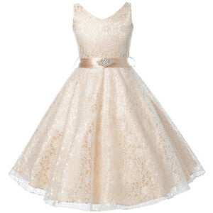 ef6787f4a10 CHAMPAGNE Lace Flower Girl Dress Dance Wedding Party Birthday Gown ...