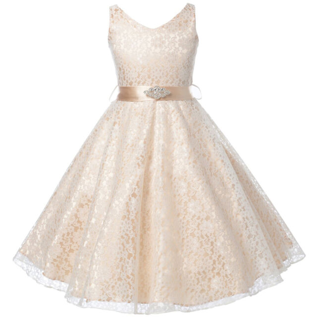 19d86d48f CHAMPAGNE Lace Flower Girl Dress Dance Wedding Party Birthday Gown Recital  Prom