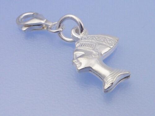 Echt 925 Silber Anhänger Einhänger Charms ägyptischen Schönheit Nofretete in 3D