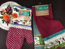The Pioneer Woman Willow 8-Pc Kitchen Set Dish Drying Mat Oven Mitt Dish Towels