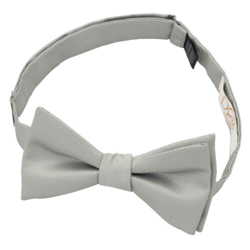 DQT Woven Plain Solid Check Silver Formal Classic Mens Self Tie Bow Tie