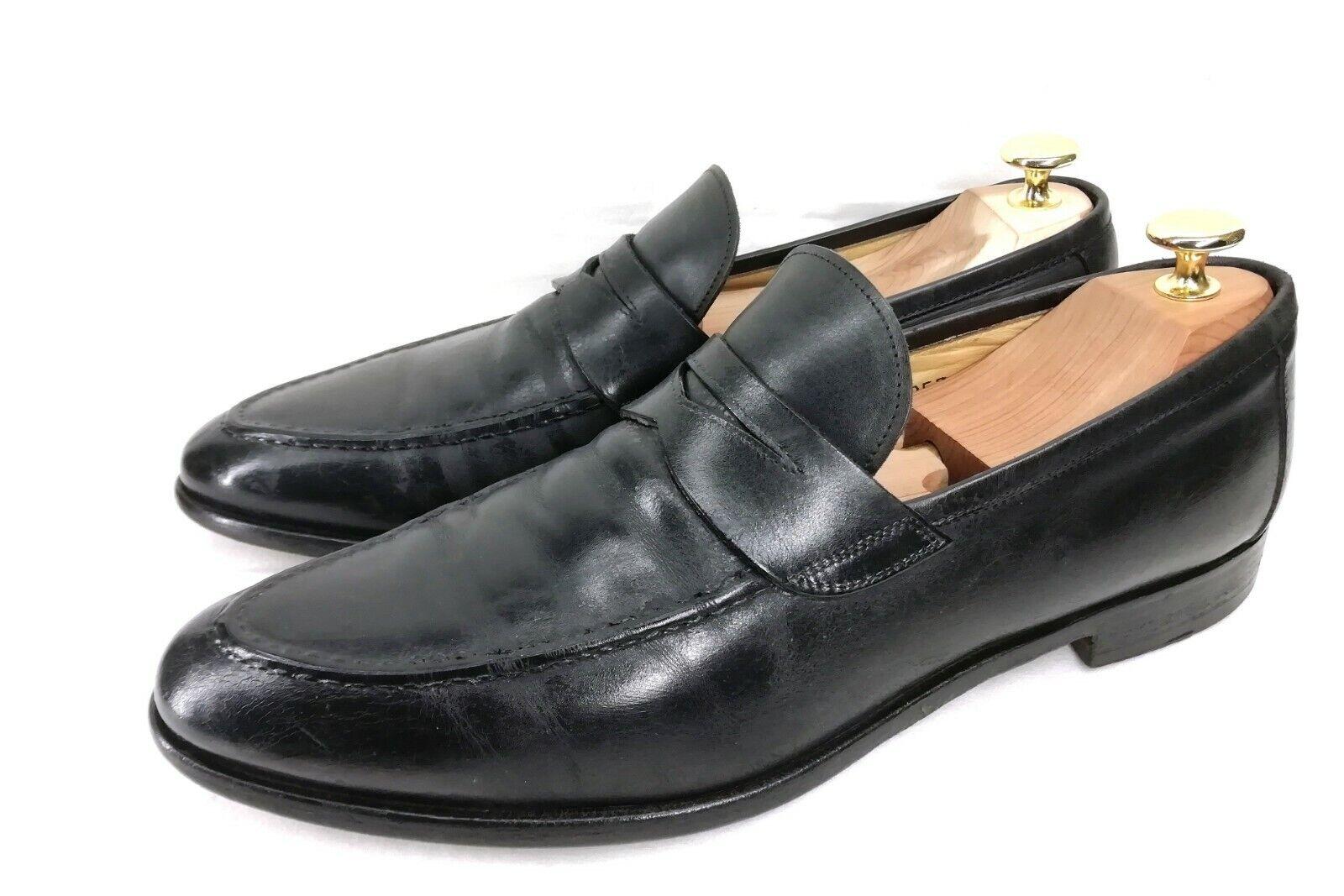 POLLINI Elegant Business Penny Loafer Mokassin Herrenschuhe Schwarz Leder ca. 44    | Das hochwertigste Material