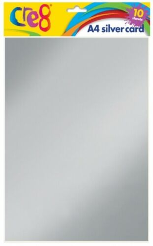 SILVER METALIC A4 CARD 10 SHEETS 200gsm ARTS CRAFTS GIFT CARD MAKING CRAFTING