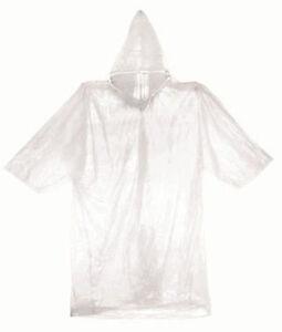 New Hooded Emergency Rain Poncho Clear Waterproof Raincoat One Size Fits Most