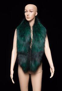 Saga-Furs-Emerald-Green-Silver-Fox-Fur-Handmade-Stole-Boa-Collar-Shawl-51-034