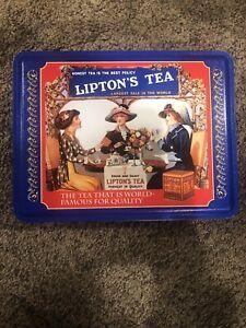 VTG-Metal-Tin-Lipton-039-s-Tea-Nostalgic-Special-Edition-Tin-Collection-401-8x6x3