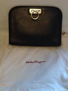 57da7478c7e7 Image is loading 100-AUTHENTIC-Vintage-Salvatore-Ferragamo-Black-Leather- Handbag-