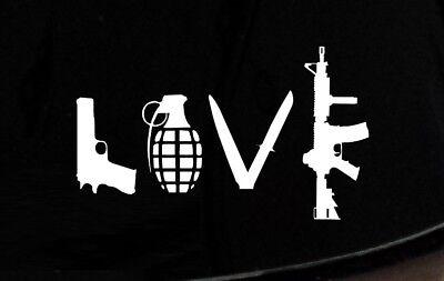 Love with Guns car decal sticker grenade hand gun window vinyl sticker truck