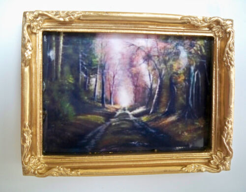 NUOVO immagine in raffinata ORO QUADRO-Sentiero nella foresta 1:12