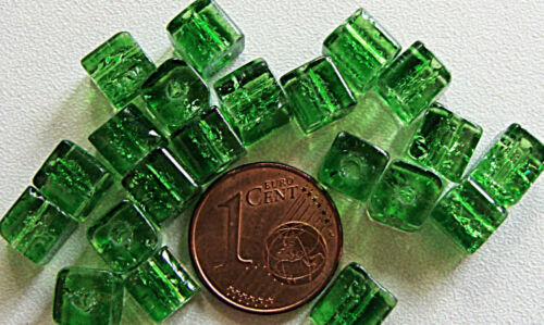 20 PERLES verre Craquelé CUBE dé 6mm trou 1mm DIY Création bijoux déco Loisirs