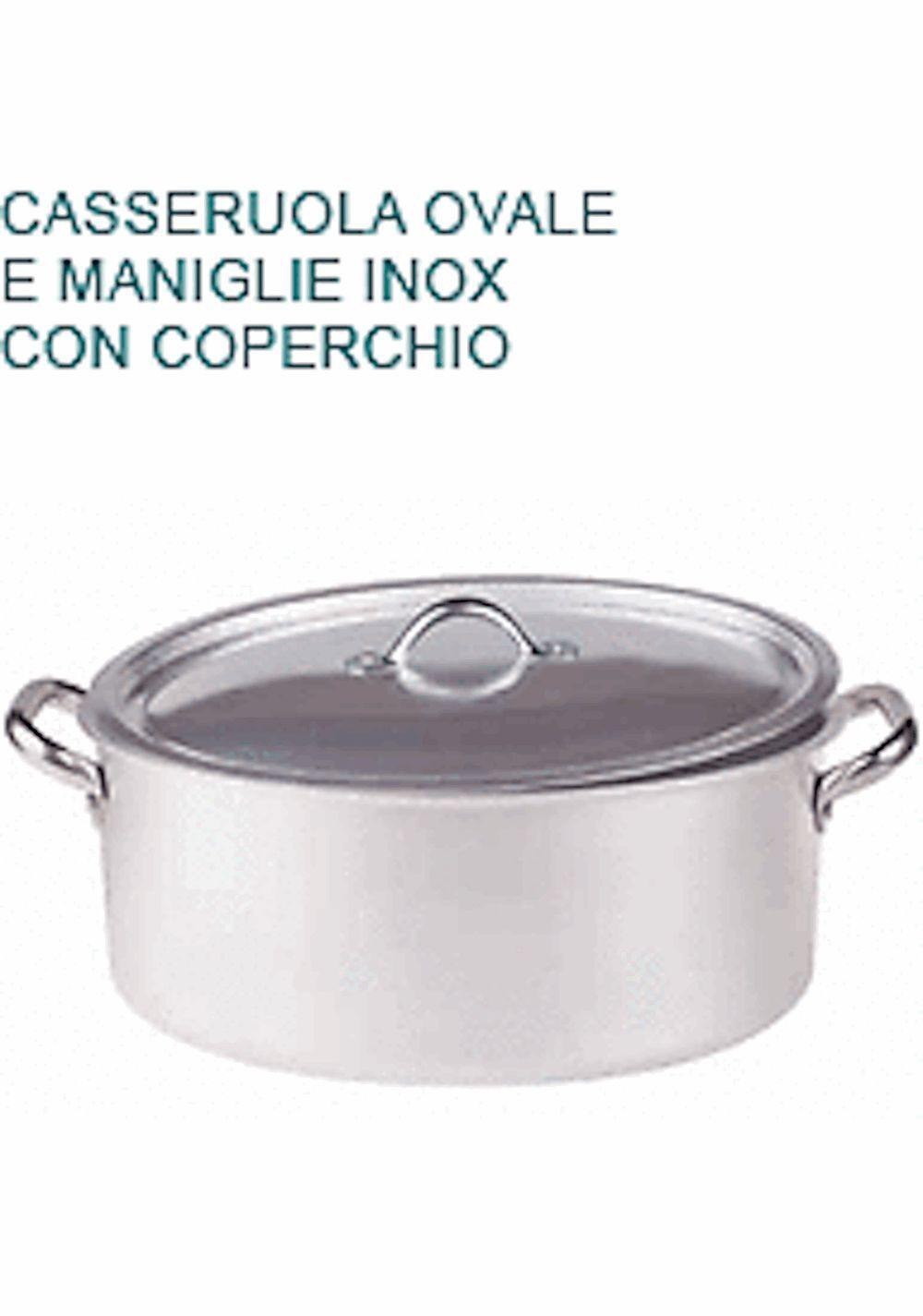 Cocotte ovale 32X22X13H couverture aluminium 3 Professionnel Pentole Agnelli