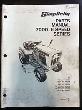 Simplicity Model 7000 6 Speed Tractor 42 48 Rotary Mower Tractor Parts Manual