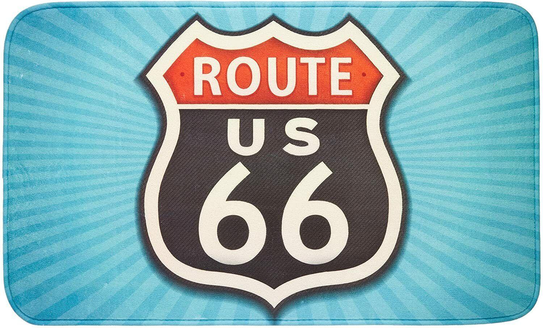 Wenko Vintage Route 66 Polyester Bathroom Mat, 75 cm x 45 cm