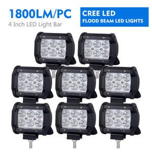 8Pcs 4inch 18W LED Work Light Fog Driving Lamp Flood Pod 4WD Off road ATV SUV