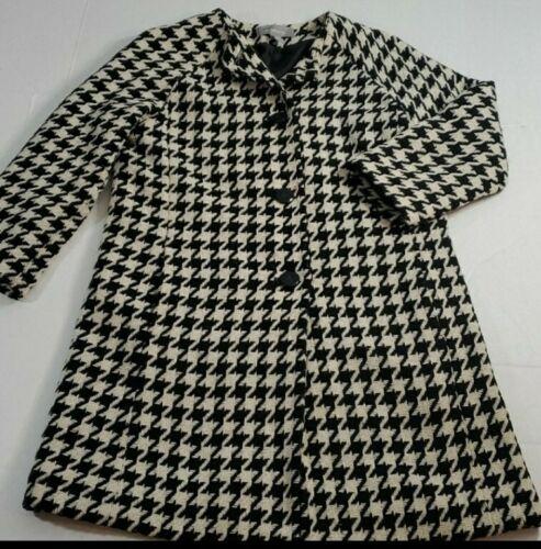 Liz Claiborne Women Black white Wool Coat Medium P