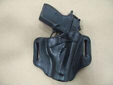 Makarov 9x18 OWB Leather 2 Slot Molded Pancake Belt Holster CCW BlACK RH