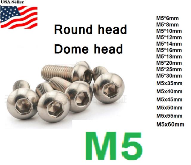 M5 x 8mm Hex Allen Socket Button Head Titanium Screw Bolt 10Pcs for Water Bottle