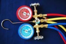 R22 R134a R12 Brass Manifold Gaugehose Set Hvac Charging Diagnosis Recovery New