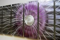 Large Purple Metal Abstract Modern Wall Art Painting Accent - Black Photon XL