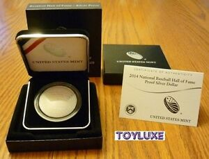 2014-PROOF-National-BASEBALL-Hall-of-Fame-90-SILVER-Dollar-Mint-Curved-Coin-COA