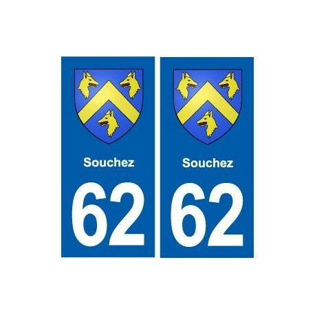 62 Souchez blason autocollant plaque stickers ville arrondis
