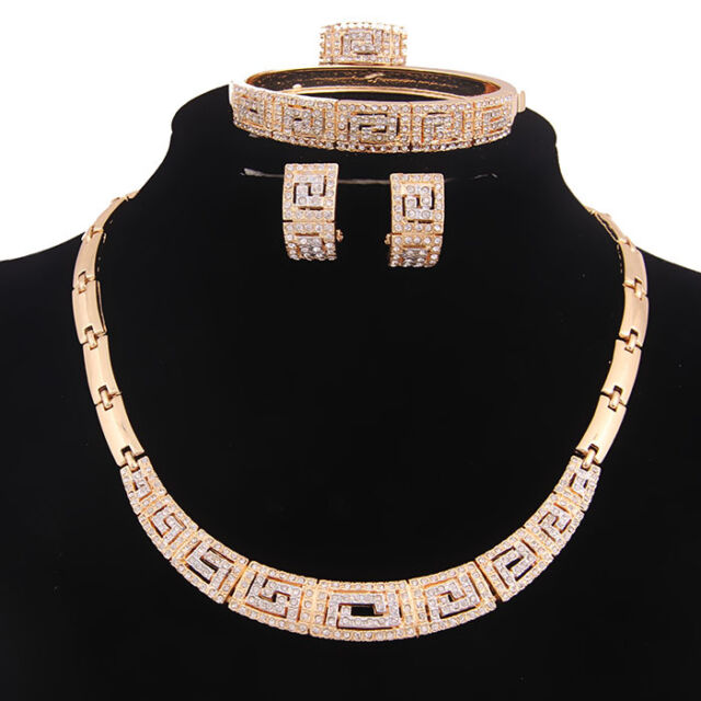 Women Yellow Gold  Necklace Earrings Set Wedding African Fashion Jewelry Sets