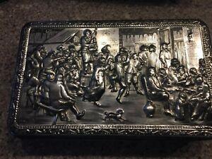 Vintage-Teniers-Tin-Box-Metal-Silver-Tone-1930s-Belgium-hinged