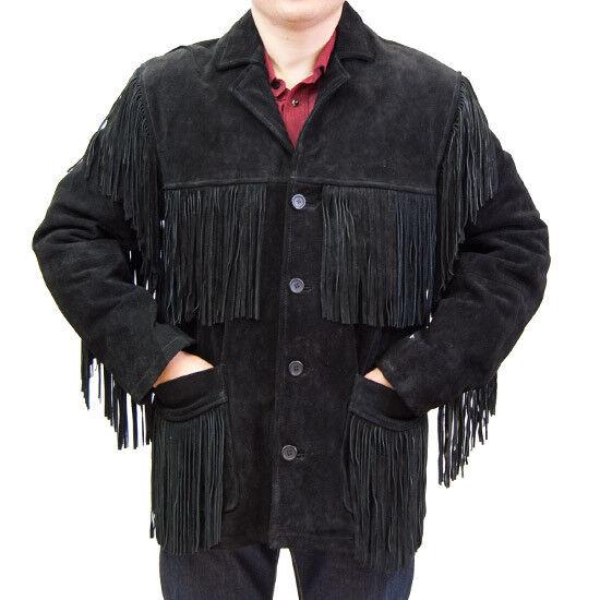 Handmade Western Suede Leather Mens Wear Cowboy Fringe Style Coat Jacket