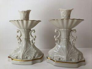 "Set of  2 Lenox AQUARIUS 6"" Candlesticks Seashell Ivory 24k Gold MINT"