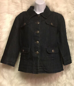 Baccini-Women-s-Sz-L-Jacket-Denim-Blue-Jean-Front-Pockets-Collar-Buttons-EUC