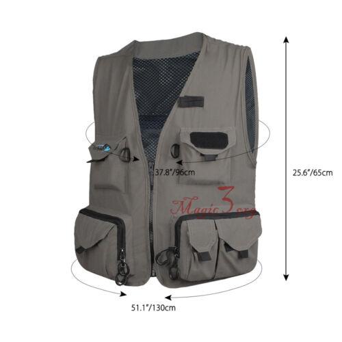 Men Fly Fishing Vest Outdoor Mesh Waistcoat Mutil-Pocket Quick Dry Jacket L-XXL