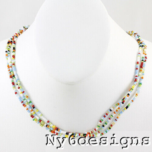 """Multi-Color Seed beads Long Necklace 22-24/"""" Orange Blue Green Red FREE SHIPPING"""
