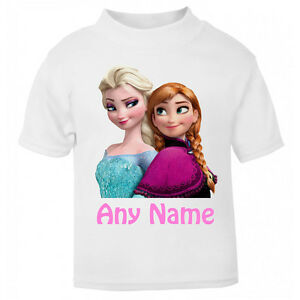 Personalised-Frozen-t-shirt-Boys-Girls-Top-Age-Size-Elsa-Anna-kids-Party-Gift