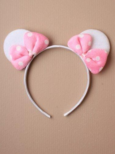 1 Par De Mouse Orejas Alice Cabello Diadema En Brillo Rosa O Blanco Spotty Arco