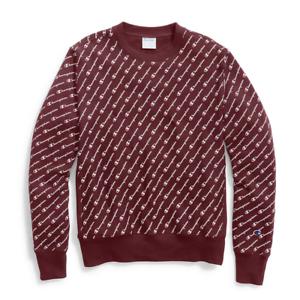 d04205ec0ffb Image is loading Champion-Maroon-Reverse-Weave-Diagonal-Script-Crewneck- Sweatshirt