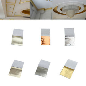 500 Sheets Gold Leaf Silver Foil Wrapping Paper Gilding for Art Craft DIY 9x9cm