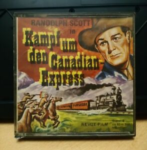 Revue-Film-Super-8-Stummfilm-Randolph-Scott-034-Kampf-um-den-Canadian-Express-034