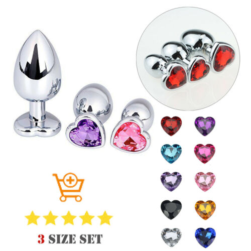 Plug Anal Beginner Stainless Steel Heart Jeweled Butt Suction Cup 3 Size in 1