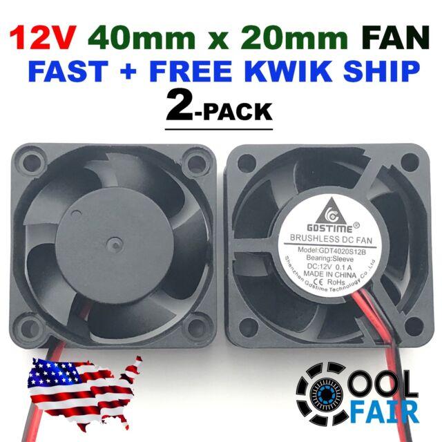12V 40mm x 20mm DC Cooling Fan 3pin 4020 Computer Case Cooler 9 CFM 4 Pcs