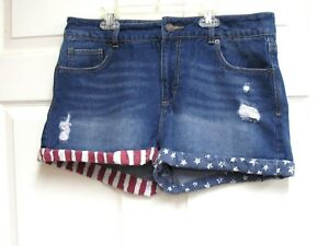 Mossimo-Jeans-Distressed-High-Rise-Short-Shorts-Sz-14-Patriotic-Rolled-Cuffs