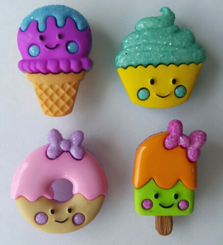 SO SWEET Ice Cream Lolly Cupcake Doughnut Donut Summer Dress It Up Craft Buttons