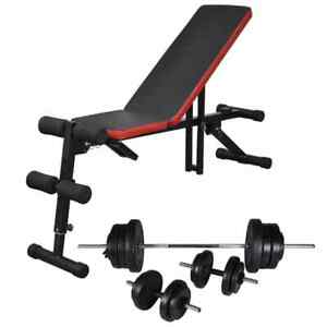 vidaXL-Adjustable-Sit-up-Bench-with-Barbell-and-Dumbbell-Set-60-5kg-Fitness