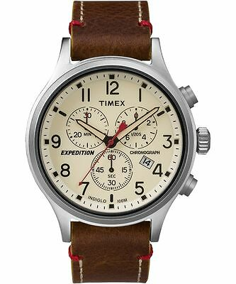 Timex TW4B04300, Men's Expedition Scout Leather Chronograph Watch, TW4B043009J