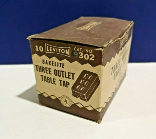 VINTAGE Leviton BROWN Single Bakelite Three Outlet Table Tap 302 NEW PERFECT!