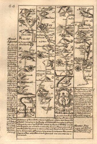 BOWEN 1753 Millbrook-Looe-Fowey-Tywardreath-Tregony road map by J OWEN /& E