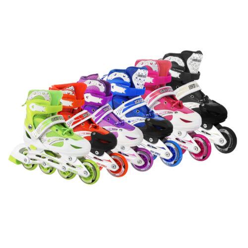 Kids Adjustable Inline Skates Roller Blades Light Up Scale Sports 11J-1 2-4 5-8
