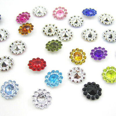NEW 50PCS plastic crystal round sunflowers Scrapbooking craft/Wedding decoration