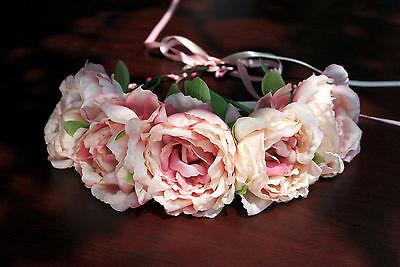 Festival Flower Crown Headband Rose Headband Wreath, Bridal Garland-beige